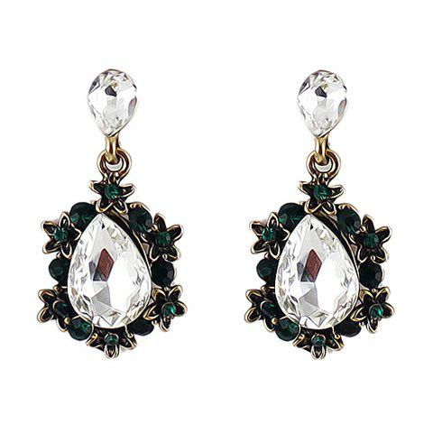 Pair of Fashion Delicate Women's Rhinestone Gem Drop Pendant Earrings - WHITE