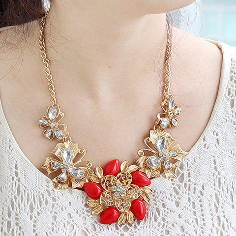 Exquisite Faux Gem Embellished Flower Shape and Butterfly Shape Women's Necklace - RED