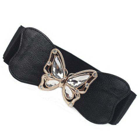 Chic Rhinestoned Butterfly Shape Buckle Elastic Belt For Women - BLACK