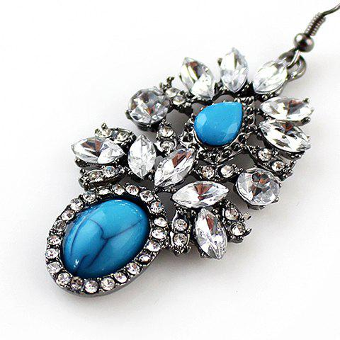 Pair of Stylish Chic Women's Rhinestone Gem Pendant Earrings - AS THE PICTURE