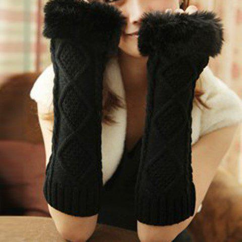 Pair of Warm Faux Fur Design Rhombus Hemp Flowers Pattern Gloves For Women - BLACK