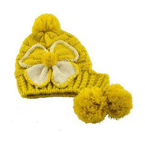 Warm Fuzzy Ball Four-Leaf Clover Pattern Design Women's Knitted Hemp Flowers Hat - YELLOW ONE SIZE(FIT SIZE XS TO M)