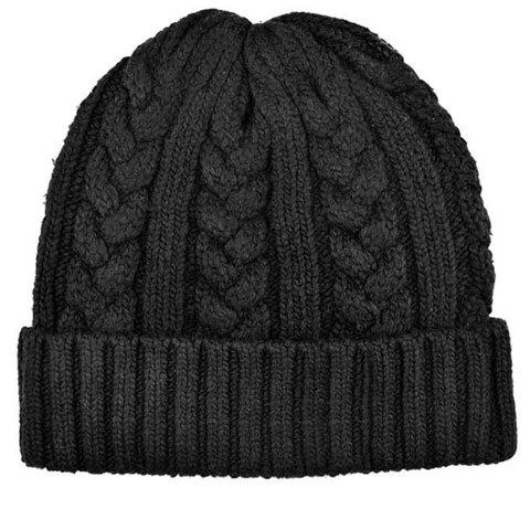 Simple Pure Color Knitted Hemp Flowers Hat For Men - COLOR ASSORTED ONE SIZE