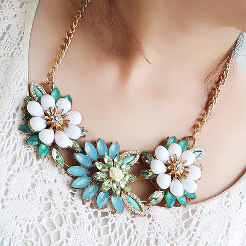 Shining Gemstone Embellished Flower Shape Women's Necklace - AS THE PICTURE