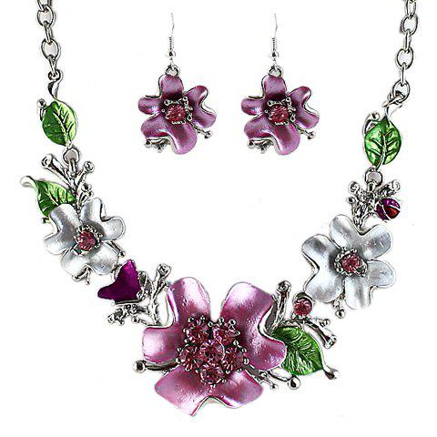 Noble Flower Shape and Leaf Shape Embellished Necklace and A Pair of Earrings For Women