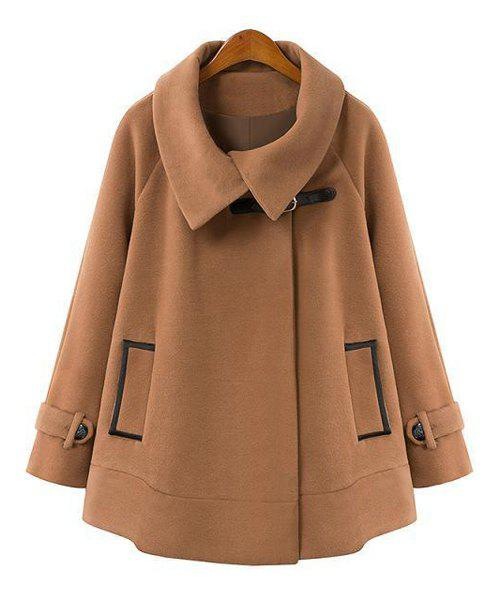 Worsted Turn-Down Collar Long Sleeve Loose-Fitting Trendy Style Women's Cloak Coat - CAMEL S
