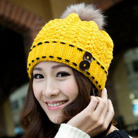 Warm Fuzzy Ball Buttons Design Knitted Hemp Flowers Hat For Women - COLOR ASSORTED ONE SIZE