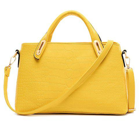 Fashion Style Crocodile Print and PU Leather Design Shoulder Bag For Women - YELLOW