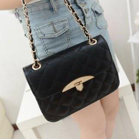Fashion Metallic Hasp and Checked Design Shoulder Bag For Women - BLACK