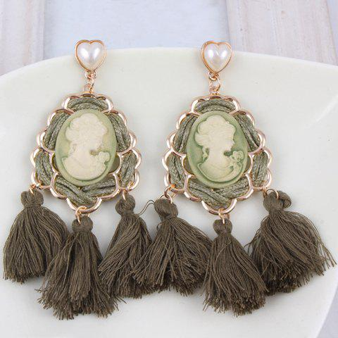 Pair of Tassel Portrait Drop Earrings - COLOR ASSORTED