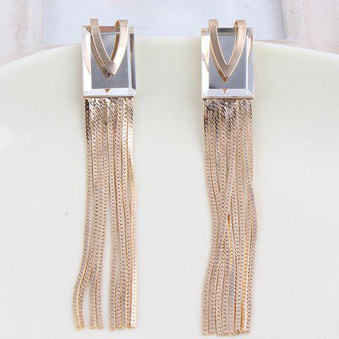 Pair of Chic Women's Link Tassel Earrings - WHITE