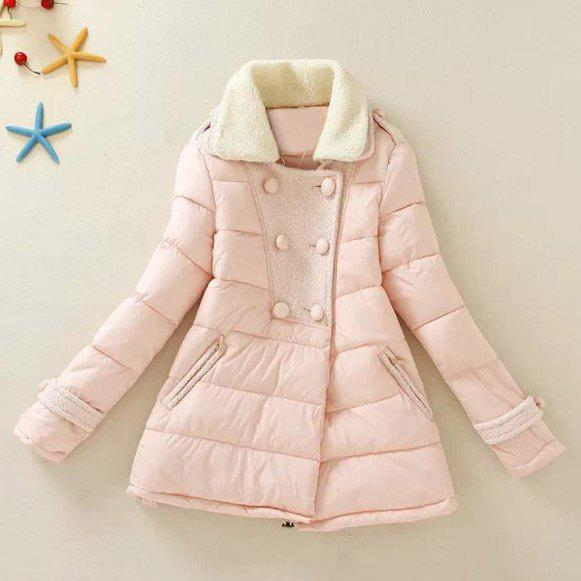 Refreshing Worsted Splicing Faux Fur Turn-Down Collar Long Sleeve Coat For Women - PINK L