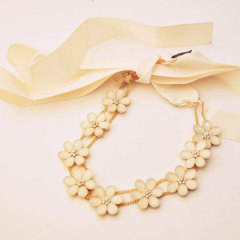 Cute Solid Color Flower Embellished Women's Hairband - BEIGE