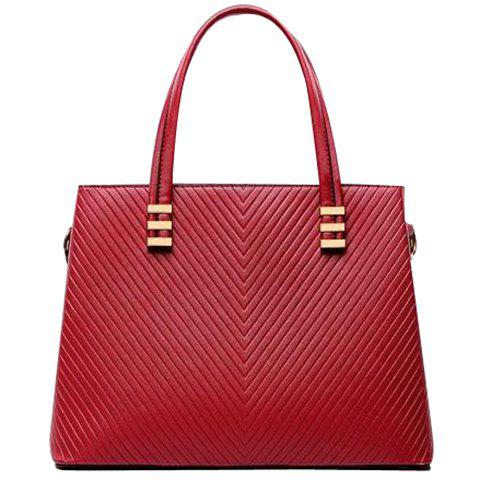 Dress Metallic and Checked Design Shoulder Bag For Women - RED
