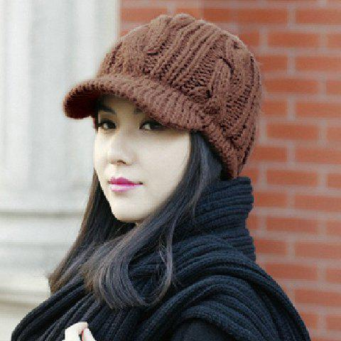 Stylish Braid Pattern Knitted Hat For Women - COLOR ASSORTED