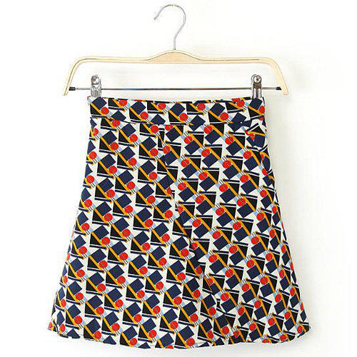 Stylish Geometrical Print Zipper Fly A-Line Skirt For Women - COLORMIX S