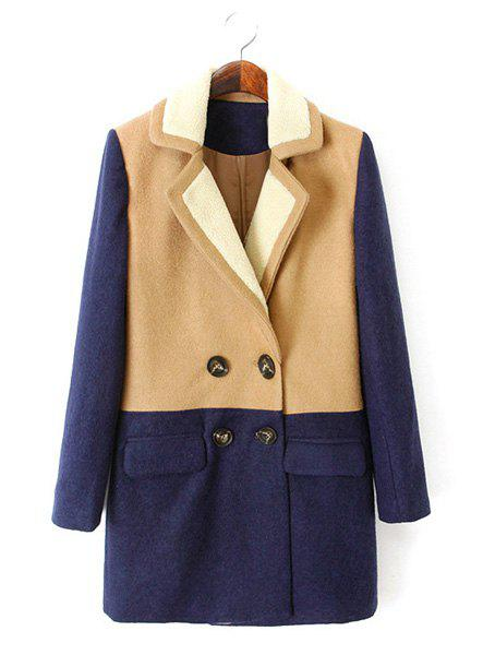 Elegant Color Block Lapel Thicken Double-Breasted Worsted Long Sleeve Coat For Women - CADETBLUE 2XL