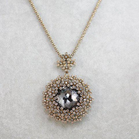 Exquisite Women's Gemstone Embellished Pendant Sweater Chain Necklace