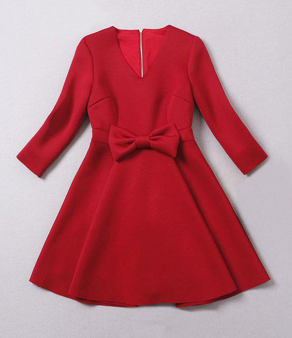 Ladylike Solid Color V-Neck Bow Tie Embellished Long Sleeve Dress For Women - RED M
