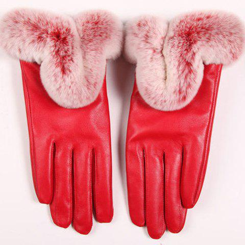 Pair of Chic Faux Fur Decorated Touch Screen Women's Gloves - RED