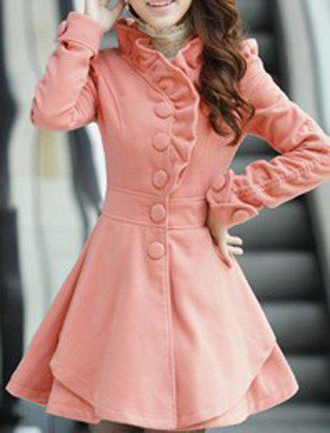 Stylish Stand-Up Collar Long Sleeve Flounced Solid Color Women's Coat - PINK L