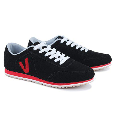 Trendy Letter and Suede Design Men's Casual Shoes - BLACK 39