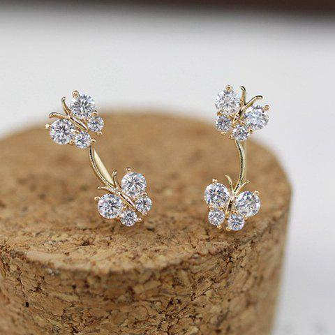 Pair of Glamourous Women's Rhinestone Embellished Butterfly Shape Earrings - AS THE PICTURE