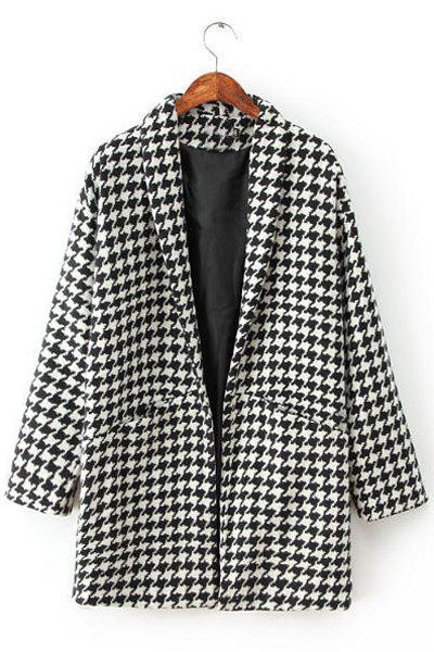 Houndstooth Pattern Worsted Long Sleeve Turn-Down Collar Fashionable Women's Coat - WHITE/BLACK L