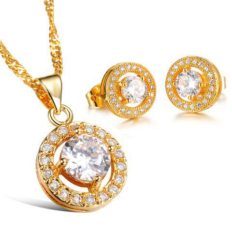 A Suit of Chic Women's Rhinestone Openwork Round Necklace And Earrings - WHITE