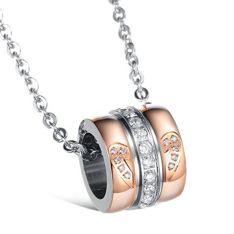 ONE PIECE Chic Rhinestone Heart Round Pendant Necklace For Lovers - FEMALE