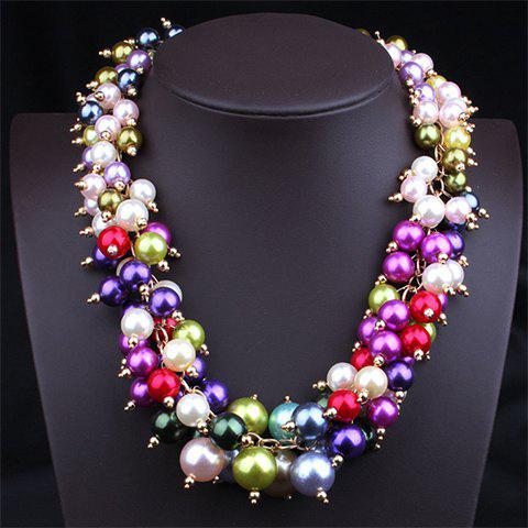 Layered Faux Pearl Necklace - COLORFUL