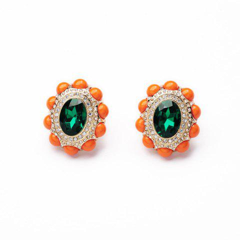 Pair of Faux Gem Embellished Sunflower Shape Stud Earrings - AS THE PICTURE