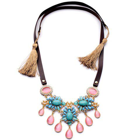 Exquisite Gemstone and Tassel Embellished Women's Necklace - AS THE PICTURE