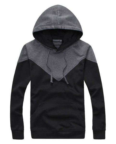 Casual Style Hooded Slimming Fashion Color Splicing Long Sleeves Men's Cotton Blend Hoodies - BLACK 2XL