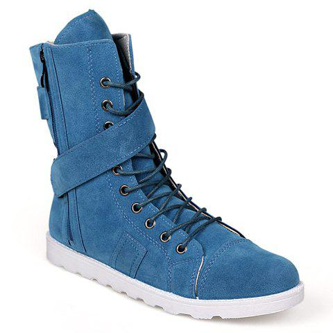 Street Style Lace-Up and Suede Design Boots For Men - DEEP BLUE 40
