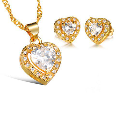 A Suit of Rhinestone Inlaid Heart Necklace and Earrings - WHITE