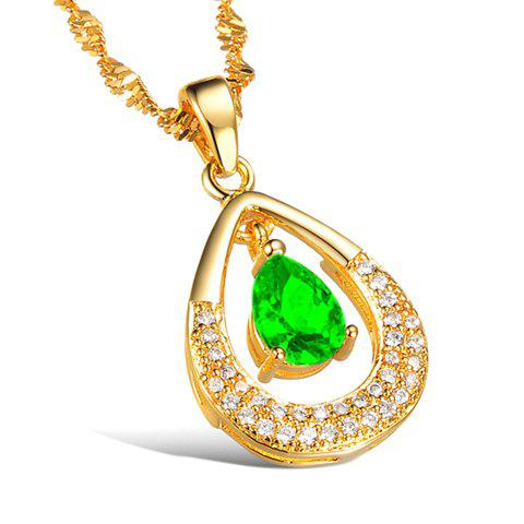 Cute Women's Rhinestone Openwork Waterdrop Necklace - GREEN