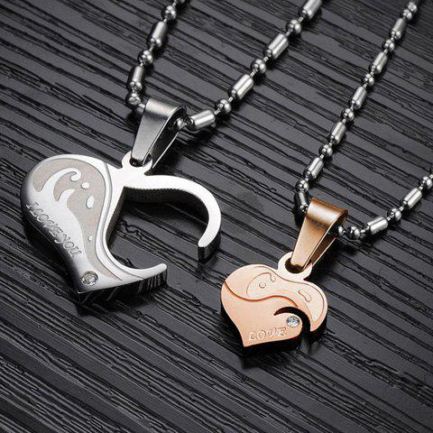 Pair of Chic Rhinestone Inlaid Heart Necklaces For Lovers - GOLDEN