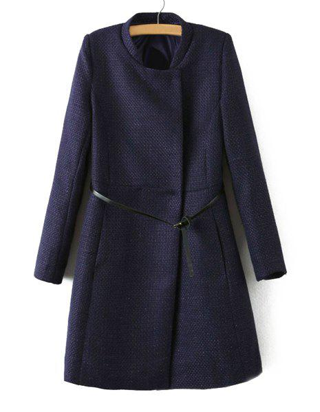Solid Color Covered Button Stand Collar Long Sleeve with Belt Stylish Women's Coat - PURPLISH BLUE S