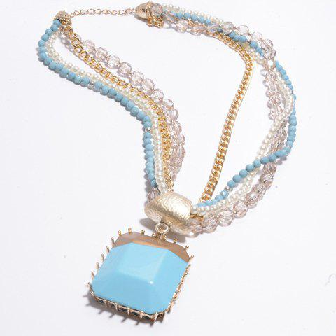 Fresh Beads Embellished Square Shape Pendant Women's Sweater Chain Necklace - COLORMIX