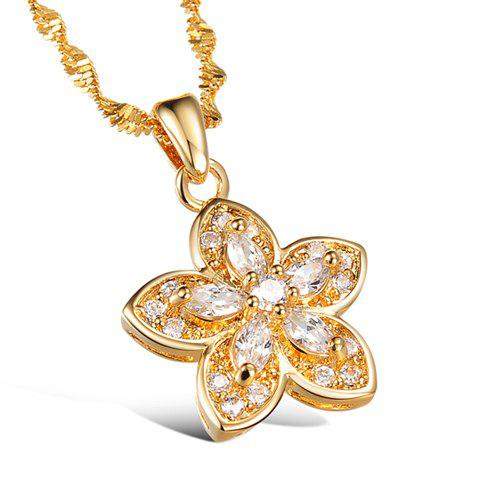 Cute Women's Rhinestone Floral Necklace