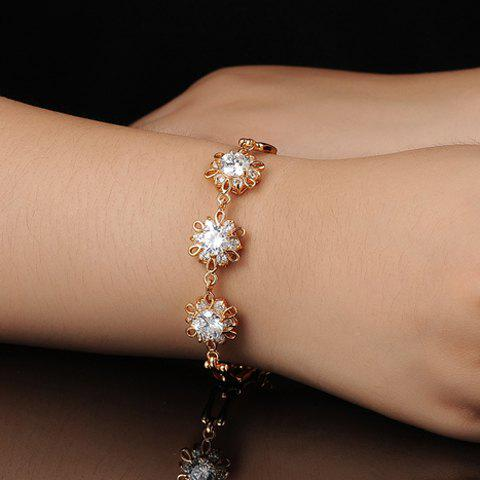 Cute Women's Openwork Flower With Rhinestone Embellishment Bracelet - COLORMIX
