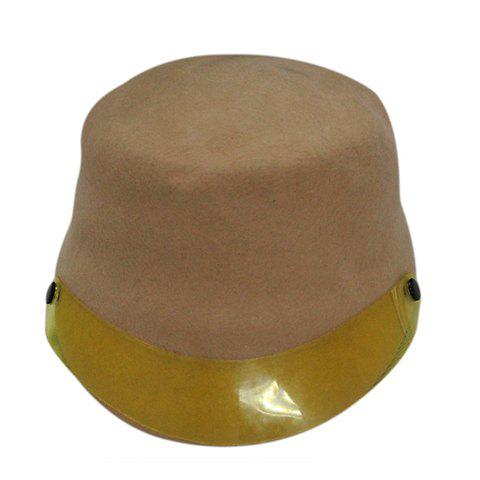 Hot Sale Plastic Board Felt Fedora Horseman Hat For Men and Women - KHAKI ONE SIZE(FIT SIZE XS TO M)