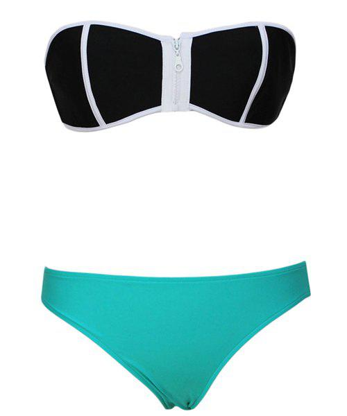 Sexy Strapless Zippered Push-Up Women's Bikini Set - AZURE S
