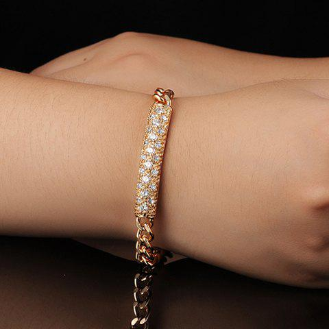 Stylish Women's Rhinestone Solid Color Link Chain Bracelet - GOLDEN