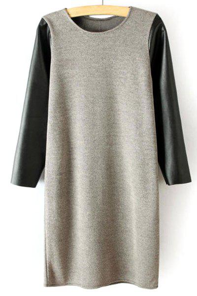 Faux Leather and Kint Splicing Jewel Neck 3/4 Sleeve Stylish Women's Dress - GRAY L