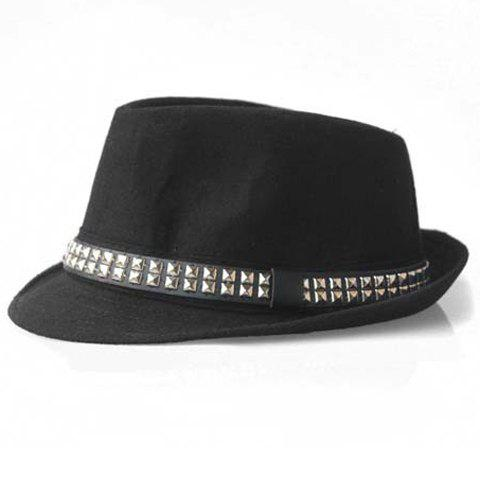 Chic Style Stud Design Fedora Hat For Men and Women - BLACK ONE SIZE(FIT SIZE XS TO M)