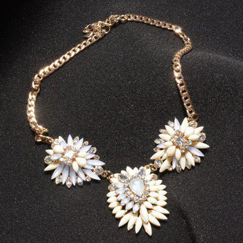 Special Acrylic Embellished Pendant Women's Necklace - WHITE