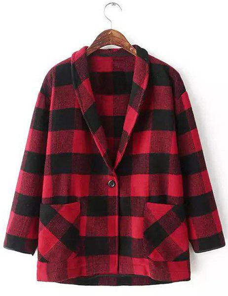 Fashionable Plaid Shawl Collar Double Pockets Long Sleeve Worsted Coat For Women - RED/BLACK S