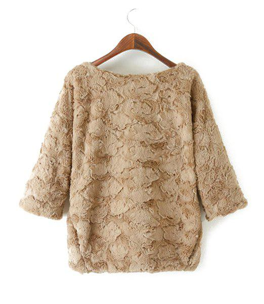 Faux Fur Solid Color Zipper Boat Neck 3/4 Sleeve Trendy Style Women's Sweatshirt - KHAKI M